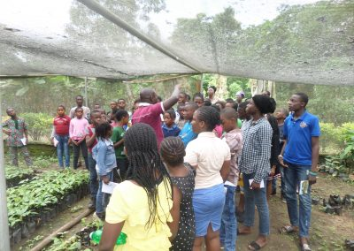 Rubies Students Visitation to CRIN During Summer Coaching (cocoa nursery shed)